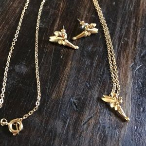 Disney Tinkerbell Gold Necklace and Earring Set
